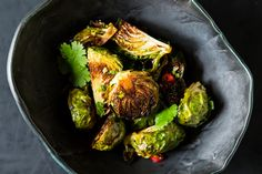 Momofuku's Roasted Brussels Sprouts with Fish Sauce Vinaigrette   this recipe is just killer. new standard for sprouts now.