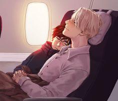 В самолете.