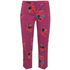 Cropped printed satin trousers (€200) ❤ liked on Polyvore featuring pants, capris, purple pants, cropped pants, satin pants, cropped capri pants und cropped trousers