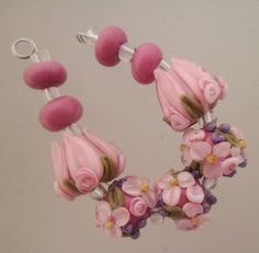 BLISS Pink Suede Wild Blossom Abundance with Tulip Lampwork Bead Mix