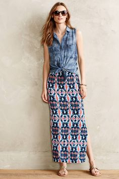 Maxi skirt with tie dye shirt on top instead of denim. Very beachy