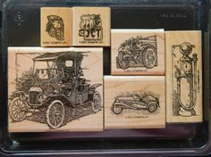 VERY RARE Stampin up wood stamp set ANTIQUE AUTOS Father's Day Masculine (6) su picclick.com