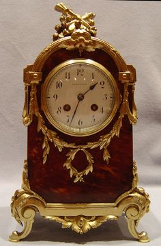 Antique English Victorian tortoiseshell & gilt bronze clock signed Mappin & Webb of London. ca.1895.