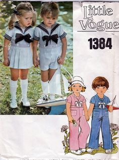 Little Vogue 1384; ca. 1970s; Toddlers' Sailor Shirt, Pants, Shorts and Skirt; Size 4, B23, FF - New Vintage Studio