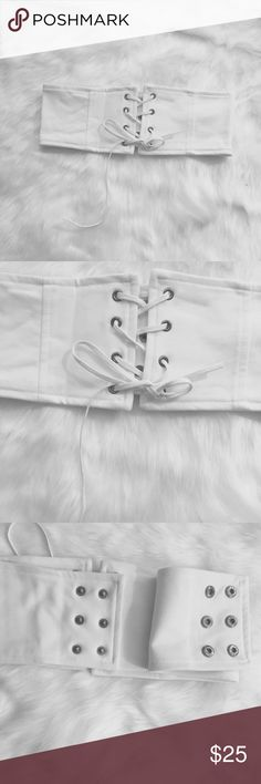 Waist belt with front lace up Comfy and sexy! 🌸  Size S- length: 27.5 'when open (can get more length by open the crochet) Wide: 4' in the lowest point till 4.6' in the highest.   Size M- length: 28 'when open (can get more length by open the crochet) Wide: 4' in the lowest point till 4.6' in the highest.   Size L- length: 29.3 'when open (can get more length by open the crochet) Wide: 4' in the lowest point till 4.6' in the highest. Accessories Belts