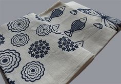 Linen tea-towels with fish, flower and butterfly figures. | www.princespier.com/blogs/princespier Homewares Online, Something Blue, Cushion Covers, Tea Towels, Beautiful Things, Wedding Gifts, Butterfly, Fish, Flower