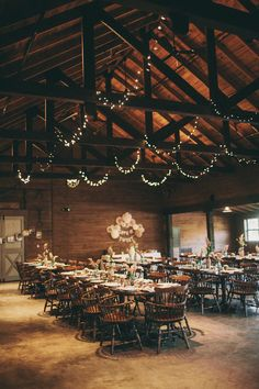 Rustic Wedding Reception -- lights!!