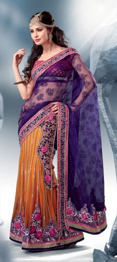 83037, Lehngas Style Sarees, Net, Machine Embroidery, Sequence, Resham, Zari, Thread, Stone, Yellow, Purple and Violet Color Family