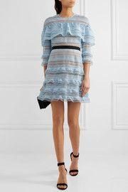 Grosgrain-trimmed guipure lace mini dress