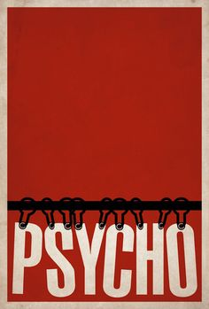 """This constrained design example is a poster designed for the movie """"Psycho"""" by Alfred Hitchcock. The text """"PSYCHO"""" is depicted as the curtains in the famous scene of the movie, where the female character gets killed in the shower."""