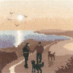 Morning Walk - Sepia Cross Stitch