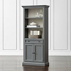 Shop Cameo Blue Grey Storage Bookcase with Full Crown. The modular full crown storage bookcase with two shelves and an enclosed cabinet with drawer for games, remotes and DVDs combines with the media storage pieces into a custom wall unit. Modular Bookshelves, Bookshelf Storage, Open Bookcase, Bedroom Storage, Shelving, Media Storage, Grey Bookshelves, Bookcases, Cabinet Drawers