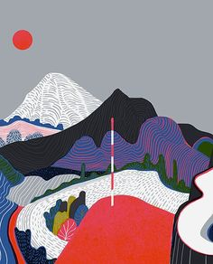 Winters Lookout by Sam Chivers, via Behance Art Photography, Illustrations And Posters, Drawings, Graphic Illustration, Graphic Design Illustration, Pattern Illustration, Art, Design Art, Graphic Art