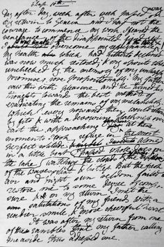 """The first page of """"Frankenstein; or, The Modern Prometheus"""" by Mary Wollstonecraft Shelley in her handwriting."""