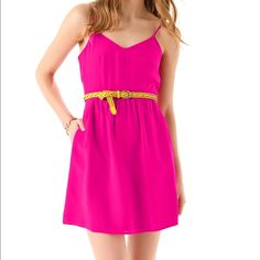 """Madewell Fuschia Casey Cami Dress The spaghetti strap dress has flattering darts on the bust that provide great accents. Additionally this dress has pockets that are perfect for the girl on the go! A zip back with adjustable straps. Color is closer to the first picture  Size 4 = S. Bust 34"""", Waist 27"""", Hip 37"""" Madewell Dresses Mini"""
