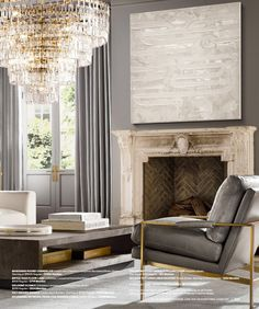 RH Source Books RH Modern 306 Home Living Room, Curtains Living Room, Home, Rh Modern, Restoration Hardware Living Room, New Living Room, Home And Living, Classic Fireplace, Living Room Designs