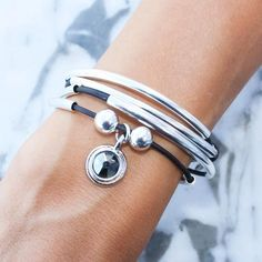 Mini Friendship leather wrap bracelet add your charm choice in Natural Black leather with Black Crystal Charm (charm sold separately)