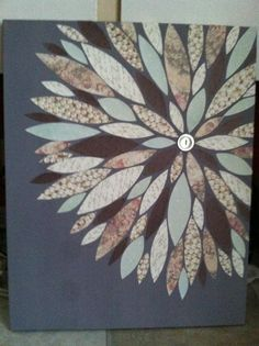 Finished Project #2 - Scrapbook Paper Flower Canvas