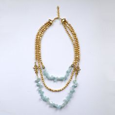 Gold Pearls Blue Aquamarine Necklace Vintage Style Jewellery by OVGillies on Etsy https://www.etsy.com/listing/162749573/gold-pearls-blue-aquamarine-necklace