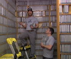 Such a selection: The guys were seen highlighting the massive choice of VHS titles Office Tv Show, Tv Ads, Matthew Mcconaughey, Tv Commercials, Austin Texas, Guys, Google Search, Funny, Tv Adverts
