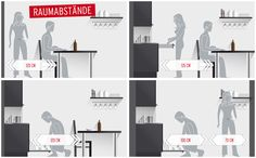 More ergonomics in the kitchen: The right kitchen dimensions Kitchen & Co House Plans, Floor Plans, Room Decor, Indoor, How To Plan, Interior Design, Cool Stuff, Kitchen, Balcony
