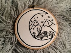 Mountains and Moon Embroidery Hoop Art by Jessi Hard // @jessi__craft