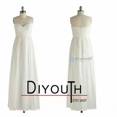 white/ivory bridesmaid dresssimple bridesmaid by Diyouth on Etsy, $79.99