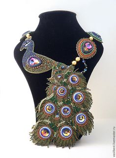 Купить Павлин - разноцветный, павлин, королевская птица, павлиньи перья, украшение, колье, бисер