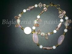 Bracciale a due fili con agata panna e perle in vetro rosa by Bigiotteria che Passione!!