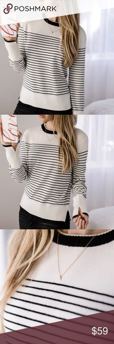 My Favorite Stripe Sweater ◽️The title says it all - my favorite ❤️. Chic and simple ivory & black stripe sweater. Soft fuzzy material -- cozy, practical, and not itchy. Premium top quality comparable to designer pieces. Perfect fit, flattering hip and arm slits. Rayon/nylon, has soft stretch. New. I am modeling S. Wearing with my Rosé Jeans.   ▫️Price is firm▫️10% off bundles of 3+  Photos are my own 11thstreet Sweaters Crew & Scoop Necks