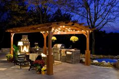 Hearthside wood pergola with superior posts and electrical package http://www.backyardunlimited.com/pergolas