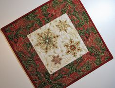 Christmas Quilted Candle Mat, Holiday Table Mat, Ornate Snowflake Table Topper, Red Green Gold Candle Mat, Quiltsy Handmade by VillageQuilts on Etsy