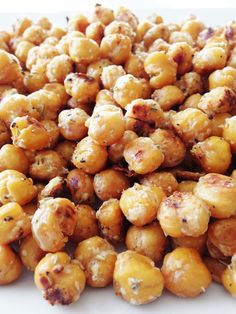 Garlicky Parmesan & Rosemary Roasted Chickpeas — good healthy snack food. Recipe is very spread out, just keep scrolling to find it all.
