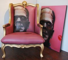 Not sure about the pink but the Frankenstein's monster print is very cool. The chair also has a beautiful frame.