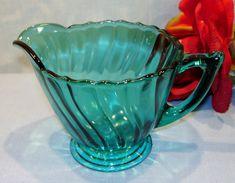Petal Swirl by Jeannette Ultramarine Depression Glass Creamer