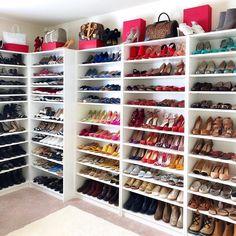 Master walk in closet with vanity shoe shelves 52 Ideas for 2019 Closet Shoe Storage, Closet Drawers, Closet Shelves, Closet Vanity, Shoe Closet Organization, Shoe Racks, Office Storage, Custom Closet Design, Walk In Closet Design