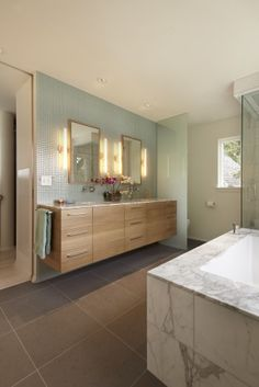 Ultra Modern Lake House Design in Amazing Appearance : Charming Contemporary Bathroom With Wooden Floating Vanity Cedar Lake International S. Modern Baths, Contemporary Bathrooms, Modern Bathroom Design, Bath Design, Tile Design, Modern Design, Bathroom Designs, Glass Design, Contemporary Style