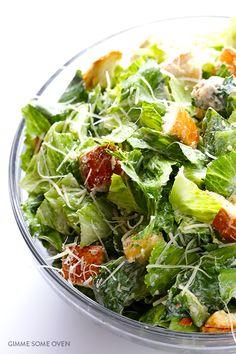 Lighter Caesar Salad Recipe -- made with a creamy Greek yogurt Caesar dressing   gimmesomeoven.com