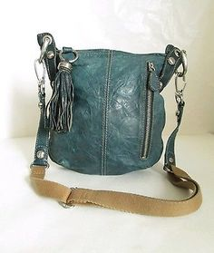 B Makowsky Distressed Genuine Leather Blue Cross body Bag Medium Tassel Fringe