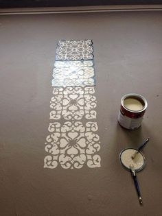 Rosa Beltran Design: DIY STENCIL PAINTED FLOOR ROUND-UP (AKA FAUX CEMENT TILE)
