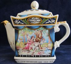 """ENGLAND - James Sadler Teapot Shakespeare Series - A Midsummer Night's Dream. Here is a beautifully decorated teapot made in England by James Sadler featuring a painted scene from Shakespeare's A Midsummer Night's Dream. This ornate piece is 6"""" X 7.5"""" X 3"""". On the bottom of this piece is a line from this classic play along with series #4444. This is a wonderful piece for any collection."""