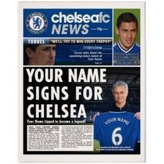 Football Club Newspapers Front Page Personalised for a great gift Chelsea Fans, Football Accessories, Newspaper Front Pages, Picture Gifts, Sports Gifts, Name Signs, Gifts For Boys, Football Shirts