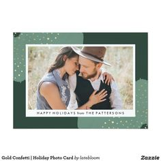 Gold Confetti   Holiday Photo Card