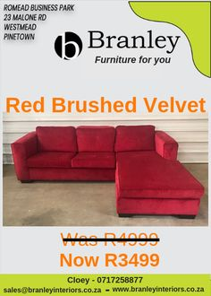 Red Brushed Velvet 2 Div + Chaise Only Furniture For You, Quality Furniture, Lounge Suites, Wholesale Furniture, Ottoman, Velvet, Couch, Interiors, Red