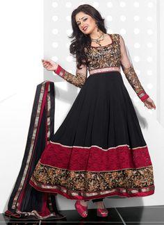 $100 Cbazaar #Embroidered #Black #FloorLength #AnarkaliSuit