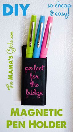 DIY a magnetic pen holder. Diy Projects To Try, Crafts To Make, Fun Crafts, Diy Locker, Locker Ideas, Locker Stuff, Locker Mirror, Locker Crafts, Filofax