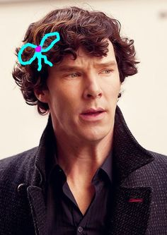 """For @Marta García, based on this conversation: http://pinterest.com/pin/502081058428020113/ She thought he'd look cute in a pale blue bow. I did my best. ^_^ (-SG. My file name for this was """"benny bow."""" XD)"""