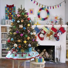 Kids Ornaments: Multicolored Christmas Ornaments in Ornaments | The Land of Nod Christmas Ornament Sets, Christmas Tree Decorations, Christmas Stockings, Christmas Trees, Retro Christmas, Christmas 2015, Holiday Tree, Holiday Lights, Holiday Decor