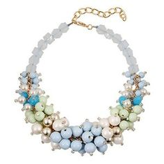 cluster beaded necklace statement jewelry blue choker