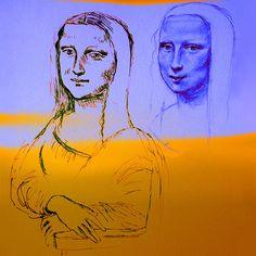 Mona Yellow&Blue Art Print  Painting by Batya Kuncman